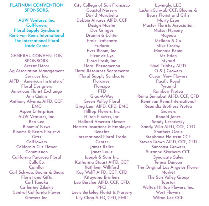 CaliFlora Sponsors